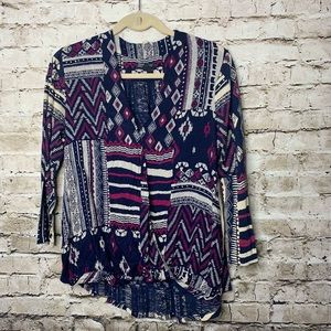 Lucky Brand Printed Faux Wrap Blouse